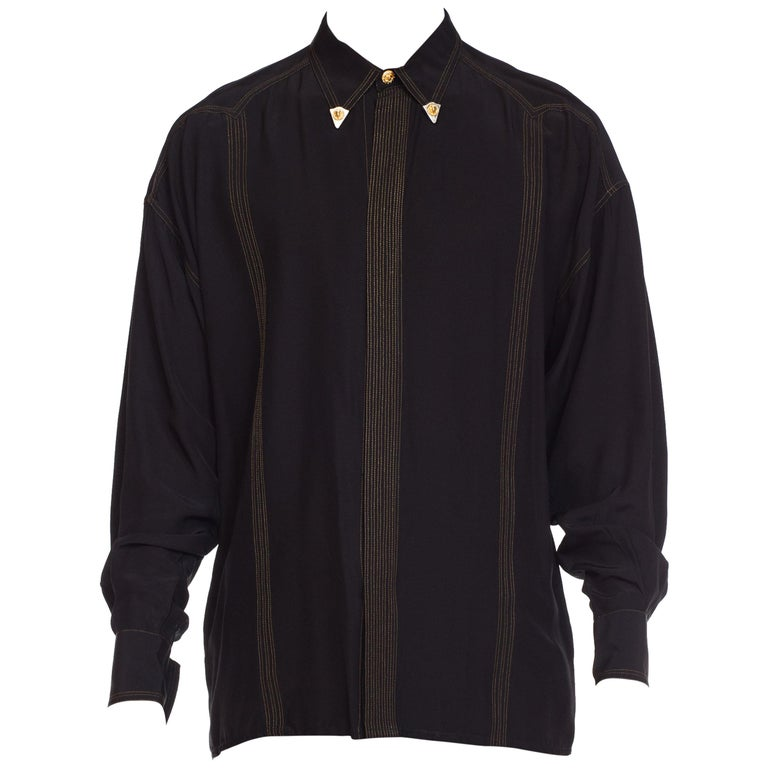1990s Versace Istante Silk Shirt with Gold Stitching and Western Detalis For Sale