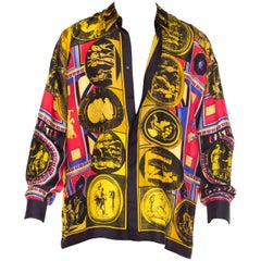 istante by versace Printed Julius Caesar Silk Shirt, 1990s