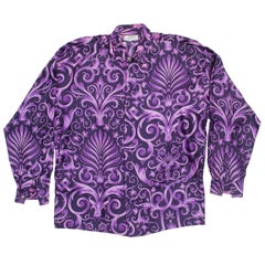 1990s Men's Gianni Versace Purple Baroque Print Silk Shirt