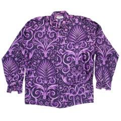 1990s Men's Gianni Versace Purple Baroque Print Silk Shirt