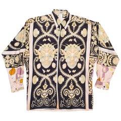 1990s Men's Gianni Versace Baroque Shell Portrait Silk Shirt