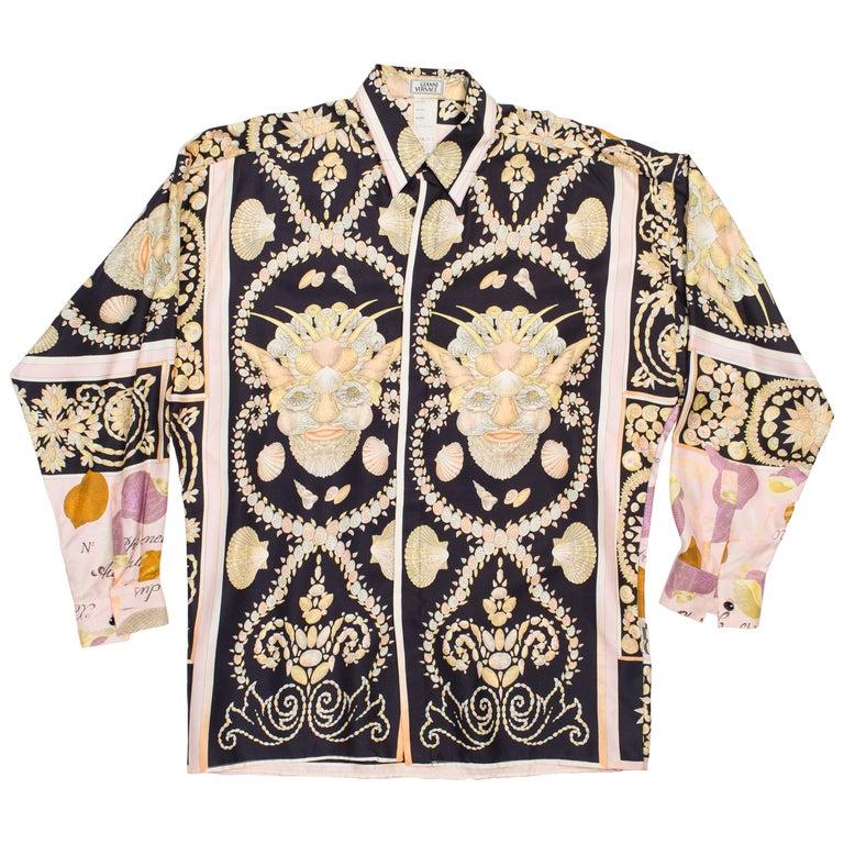 1990s Men s Gianni Versace Baroque Shell Portrait Silk Shirt at 1stdibs cf7e3411b2a