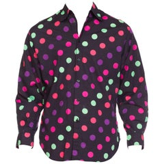 1990s Versus Versace Men's Cotton Polka Dots Shirt