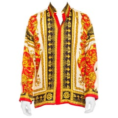 1990s Mens Gianni Versace Baroque King of the World Silk Shirt