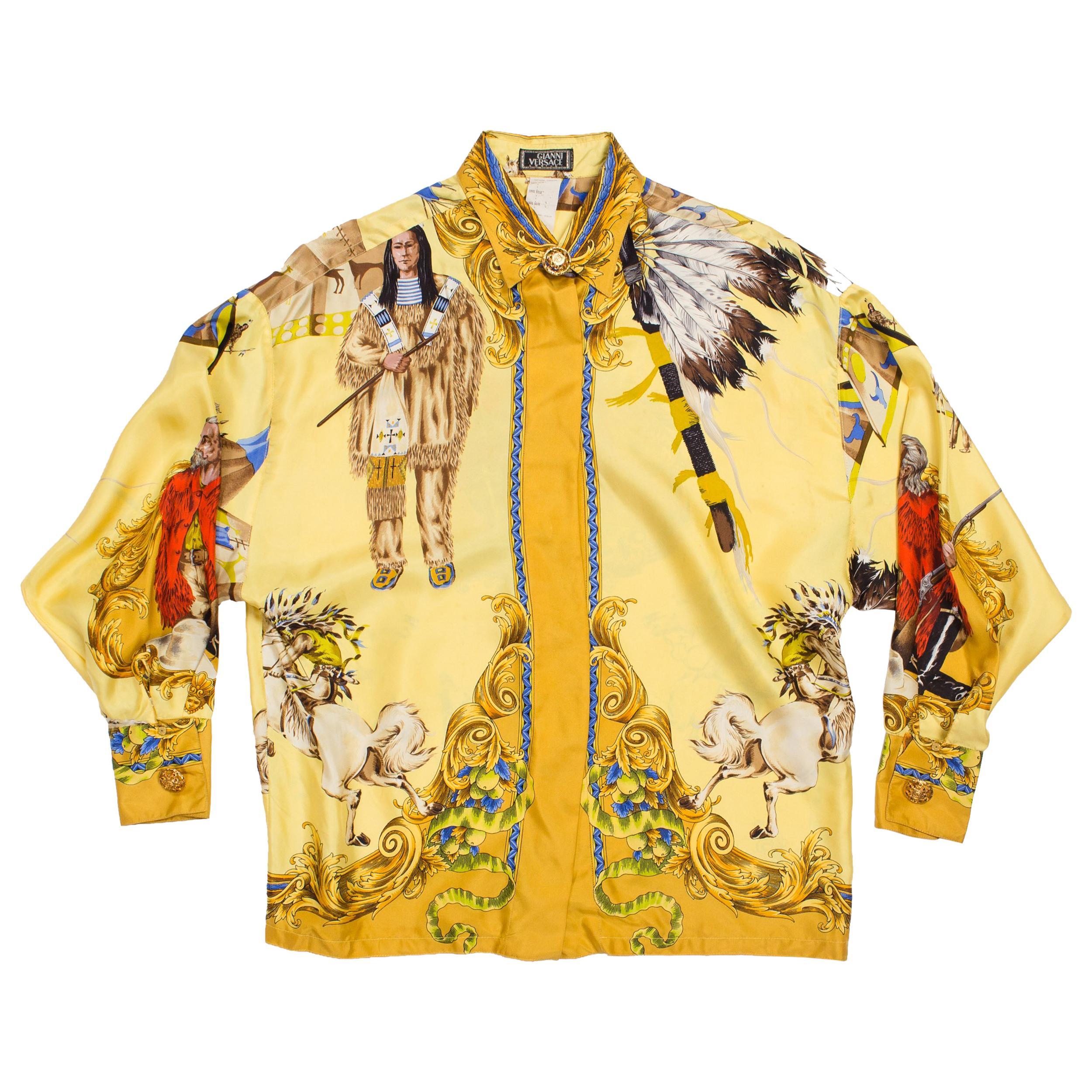 1990S GIANNI VERSACE Pale Yellow Silk Buffalo Bill Native American Print Shirt