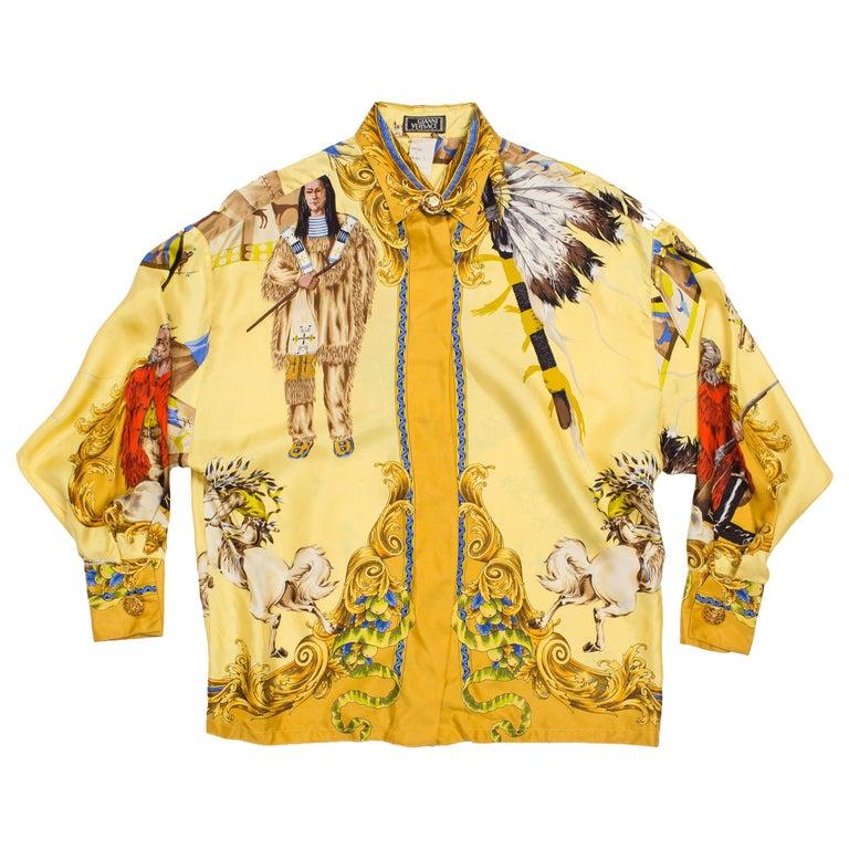 1990s Gianni Versace Buffalo Bill Native American Silk Shirt