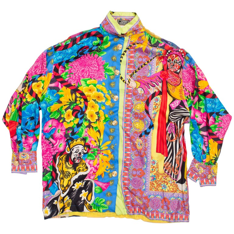 0386b4c58feec Gianni Versace Couture Japanese Theatre Baruque Medusa Print Blouse For Sale