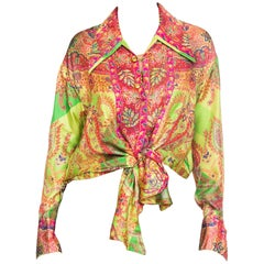 Gianni Versace Punk Safety Pin Collection Paisley Silk Blouse, 1990s