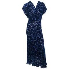Royal Blue Art Deco Cut Velvet Gown, 1930s