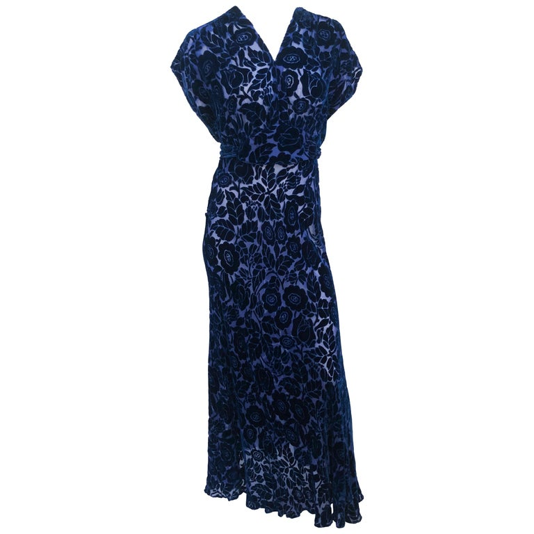 Royal Blue Art Deco Cut Velvet Gown, 1930s  For Sale