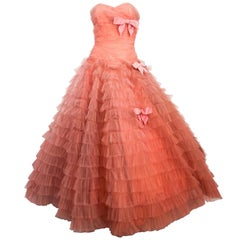1950s Coral Strapless Gown with Velvet Bow Accents