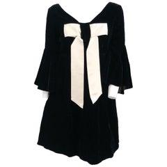 1960s Black Velvet Shift Dress with Large Bow