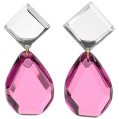 Harriet Bauknight for Kaso Oversized Pink Lucite Dangling Drop Clip Earrings