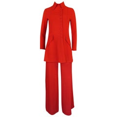 Ossie Clark Couture Red Moss Crepe Jacket and Pant Suit, circa 1971