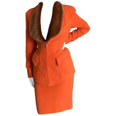 Mugler Paris Vintage 1980's Orange Wool Suit w Removable Faux Fur Collar