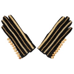 Yves Saint Laurent Rive Gauch Black Embroidered Suede Gloves, Circa 1970's