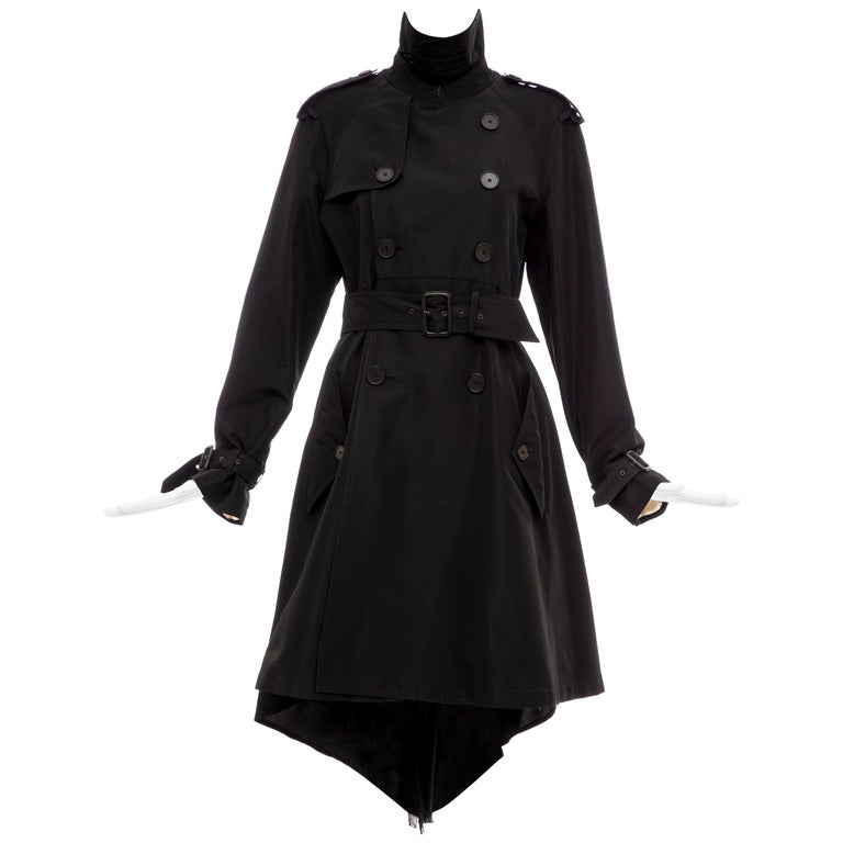 Jean Paul Gaultier Runway Black Double Breasted Trench Coat, Fall 2007 For Sale