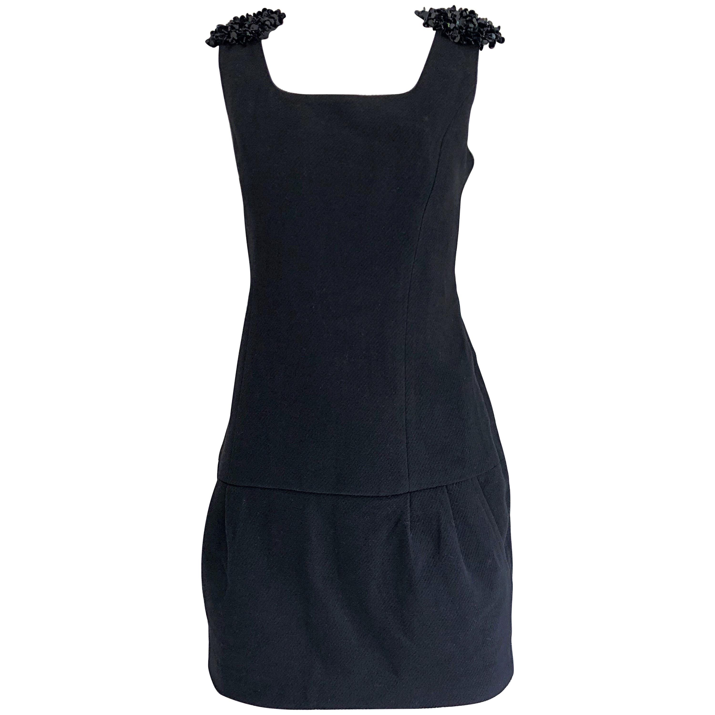 1990s Miu Miu Black Virgin Wool Sequin Beaded Vintage 90s Mini Dress