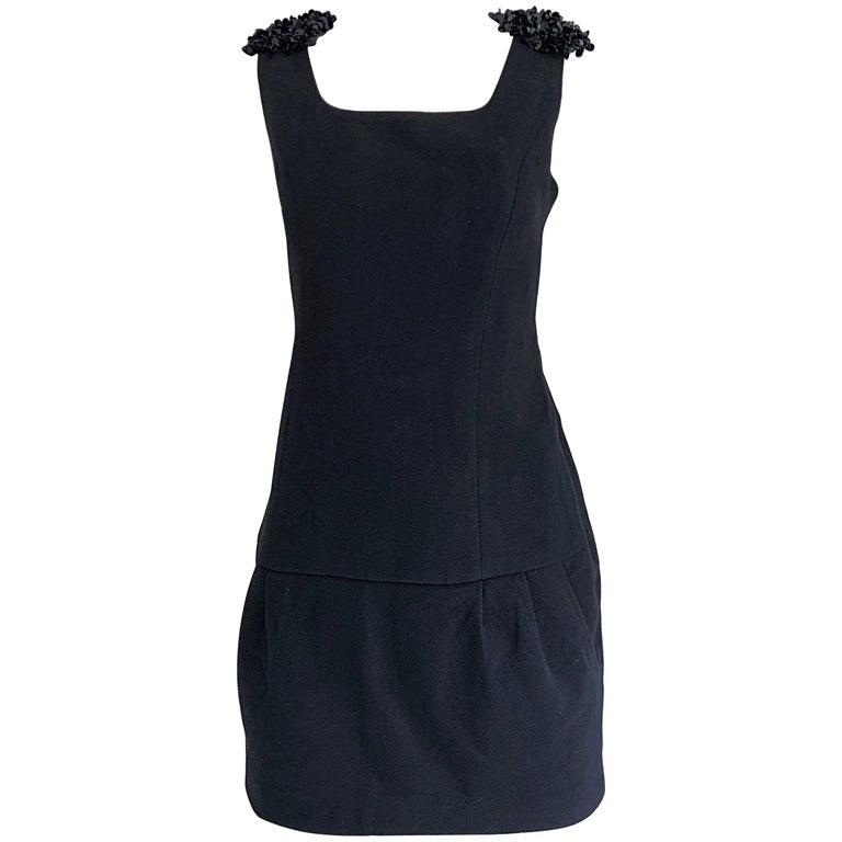 1990s Miu Miu Black Virgin Wool Sequin Beaded Vintage 90s Mini Dress For Sale