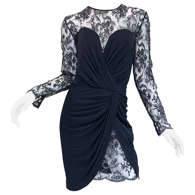 Gorgeous Vintage Vicky Tiel Couture Black Silk Jersey + Lace Rhinestone Dress For Sale