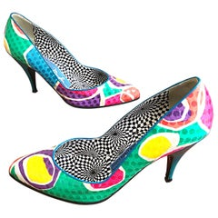 Vintage Thierry Mugler Size 7.5 Abstract Colorful Sequin High Heel Shoes Pumps