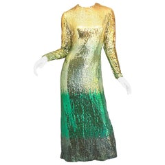 Amazing 1960s Bill Blass Gold + Green Ombre Sequined Vintage 60s Gown Dress
