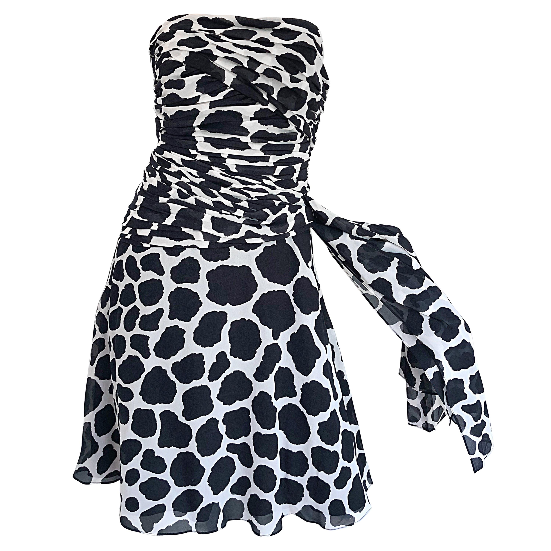 1990s Louis Feraud Size 8 Black and White Vintage Strapless Chiffon Dress