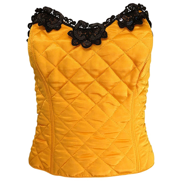 1990s Natori for Neiman Marcus Yellow Quilted Sequin Strapless Vintage Bustier