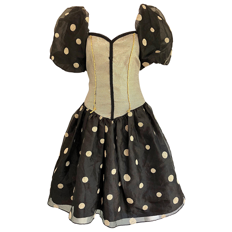 Fabulous 1980s Avant Garde Gold + Black Polka Dot Puff Sleeve Vintage 80s Dress