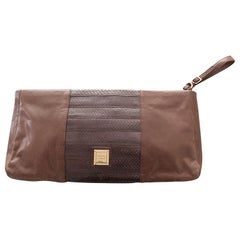 Herve Leger Snake + Leather Taupe Brown Extra Large Wristlet Large Clutch