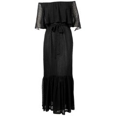 1970's YVES SAINT LAURENT black off-the-shoulder peasant dress