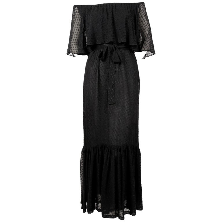 Yves Saint Laurent black off-the-shoulder peasant dress, 1970s