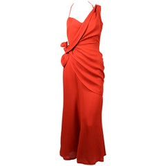 1990's THIERRY MUGLER terra cotta linen dress with asymmetrical wrap