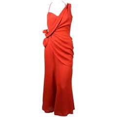 Thierry Mugler terra cotta linen dress with asymmetrical wrap, 1990s