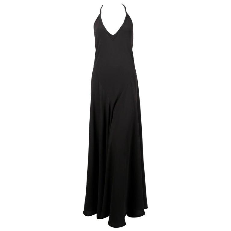 Ossie Clark For Quorum black back bias-cut maxi gown, 1970s
