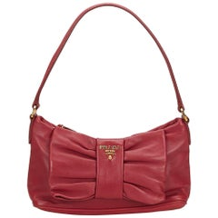 Prada Red Leather Bow Baguette