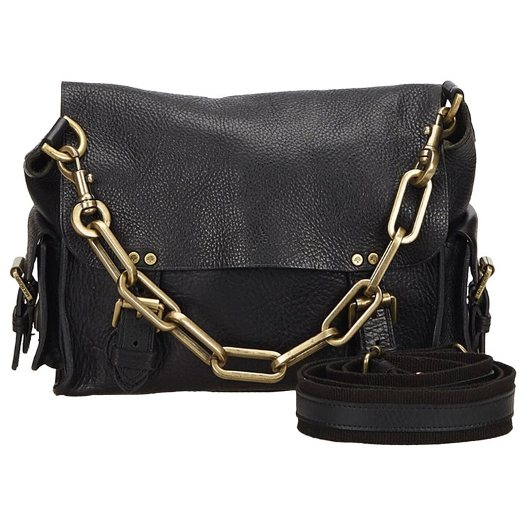71d98a9c1b86 Mulberry Black Chain Leather Messenger Bag at 1stdibs