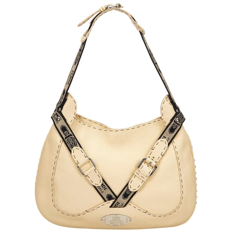4745a2640626 Fendi Brown Zucchino Canvas Baguette. HomeFashionHandbags and  PursesShoulder Bags. Fendi White x Black Selleria Buckle Hobo For Sale