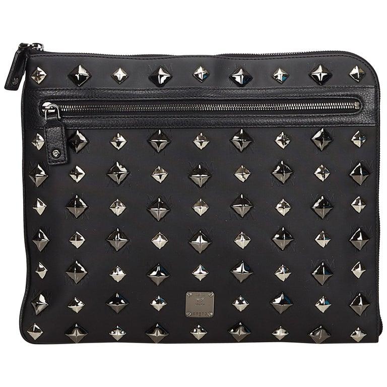 Mcm Black Visetos Studded Clutch Bag For