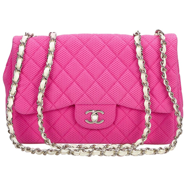 b9a879e60d6ae5 Chanel Pink and White Jumbo Cotton Flap Bag at 1stdibs