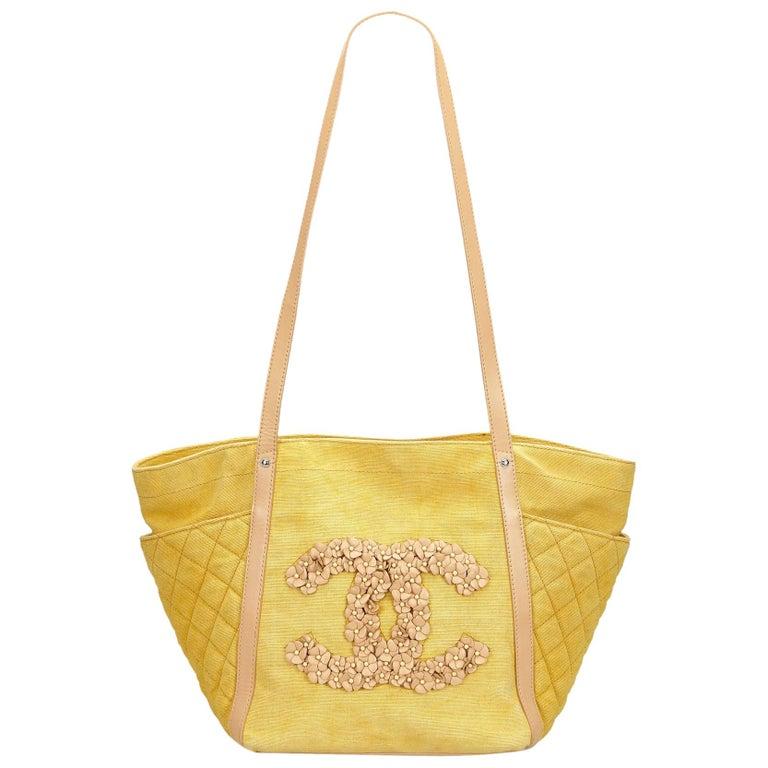 8ff80591254e Chanel Yellow Camellia CC Tote at 1stdibs
