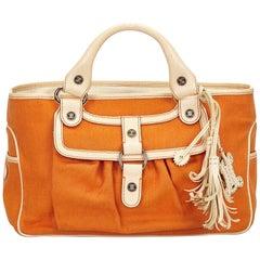 Celine White x Ivory x Orange Canvas Boogie Bag