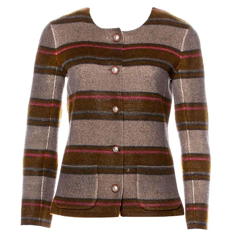 Chanel Pure Cashmere Striped Signature Jacket Blazer