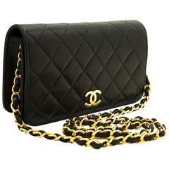 CHANEL Small Chain Shoulder Bag Clutch Black Quilted Flap Lambskin