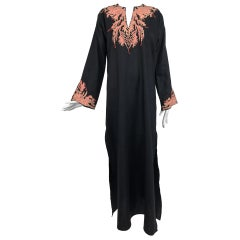 Jeannie McQueeny coral embroidered black linen caftan