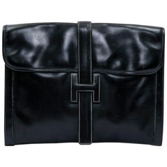 HERMES Vintage Jige Large Model Clutch in Black Box Leather