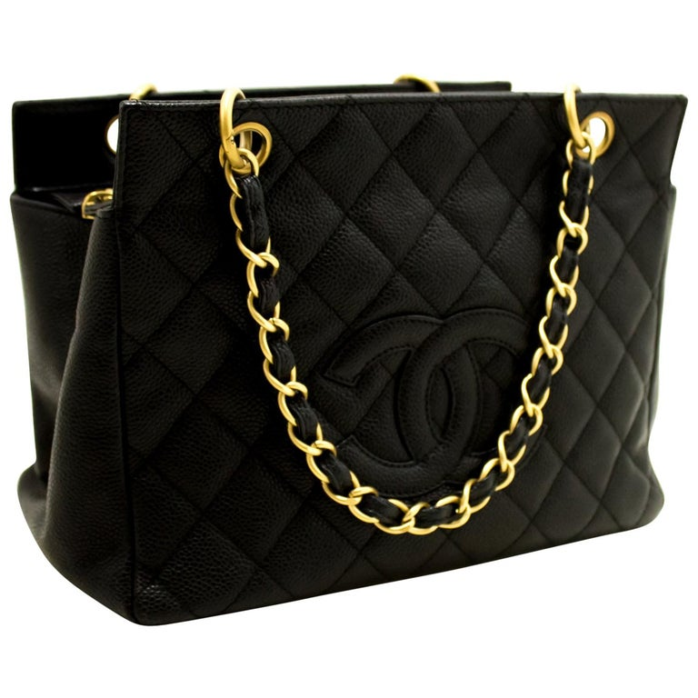 b26e85f4cf53 Chanel Caviar Chain Black Quilted Shoulder Bag Shopping Tote For Sale