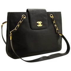 Chanel Caviar Jumbo Large Chain Black Leather Gold Shoulder Bag