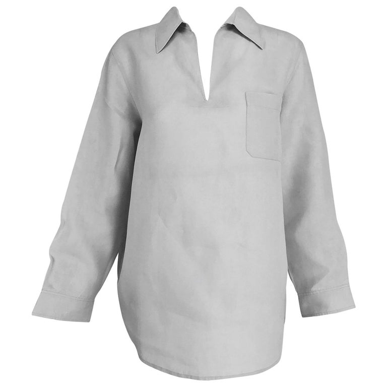 Hermes pale grey linen pull on shirt