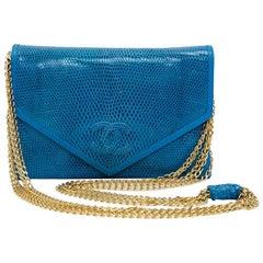 Chanel Blue Lizard Vintage Bag